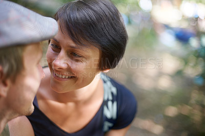 Buy stock photo Shot of a happy mature couple at an outdoor festival