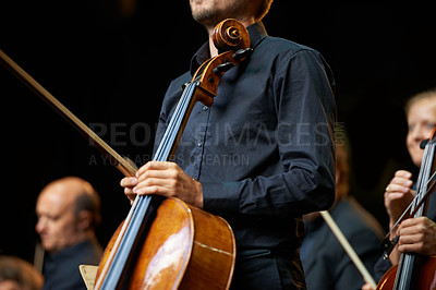 Buy stock photo Cropped shot of a musician during an orchestral concert