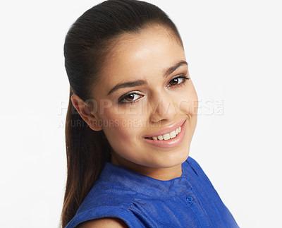 Buy stock photo Cropped studio portrait of a beautiful woman isolated on white