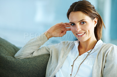 Buy stock photo Beautiful young woman looking at confidently