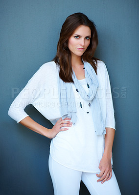 Buy stock photo Confident young fashion model posing
