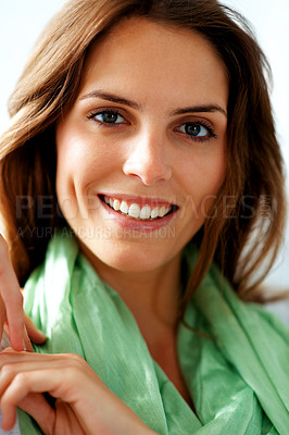 Buy stock photo Cute young female model looking happy