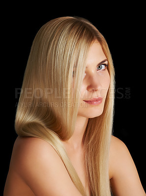 Buy stock photo Portrait of an attractive blonde woman isolated on black