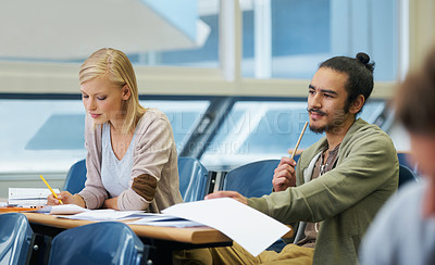 Buy stock photo A group of students sitting in an exam room