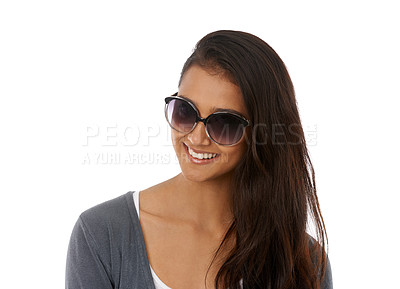 Buy stock photo A beautiful young ethnic woman wearing sunglasses smiling at the camera