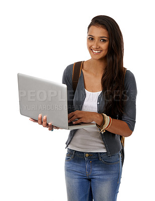 Buy stock photo A college student with a backpack and a laptop smiling at the camera