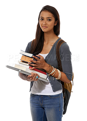 Buy stock photo A young ethnic woman with a laptop and a pile of books