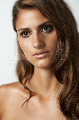 Buy stock photo Studio shot of a gorgeous young model against a white backdrop