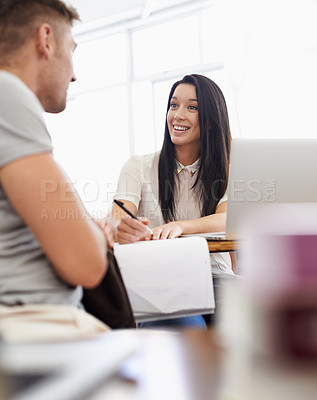 Buy stock photo Happy students in a college classroom