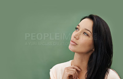 Buy stock photo A beautiful young woman standing in front of a blackboard