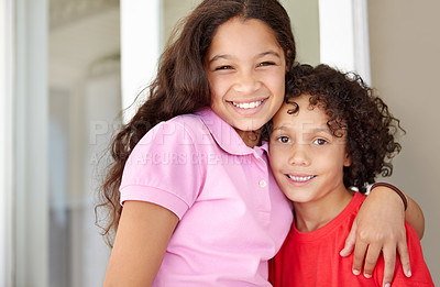 Buy stock photo Portrait of an affection young brother and sister