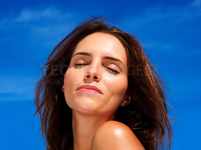Buy stock photo Closeup of a cute young female - Outdoor