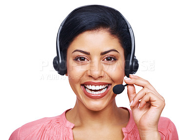Buy stock photo A cheerful customer service agent smiling while isolated on white