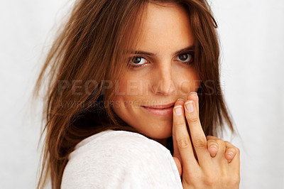 Buy stock photo Closeup of a cute young female model posing