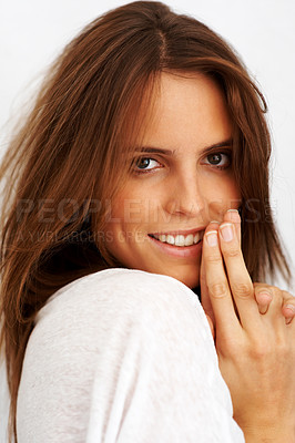 Buy stock photo Closeup of a happy young woman posing