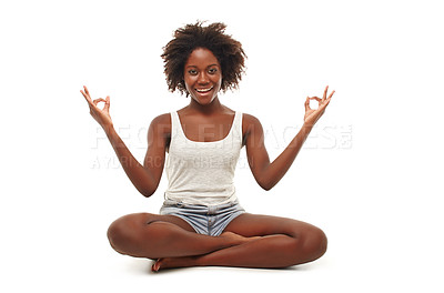 Buy stock photo A young woman in a yoga position