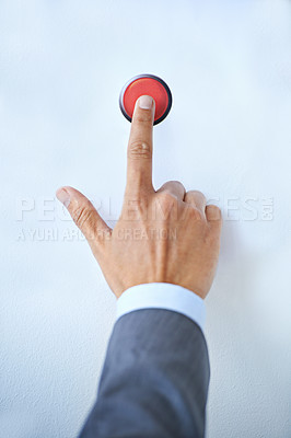 Buy stock photo Cropped shot of a businessman with his finger on a red button