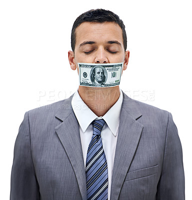 Buy stock photo Concept shot of a businessman with money covering his mouth