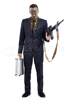 Buy stock photo Full length portrait of a businessman with a camouflaged face holding a gun and a briefcase
