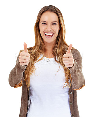 Buy stock photo Portrait of an attractive young woman showing thumbs up