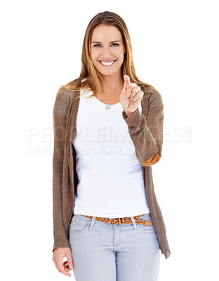 Buy stock photo Portrait of an attractive young woman pointing to the camera