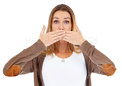 Buy stock photo Portrait of an attractive young woman covering her mouth in shock