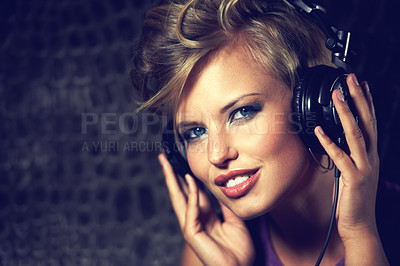 Buy stock photo Shot of a gorgeous young female dj