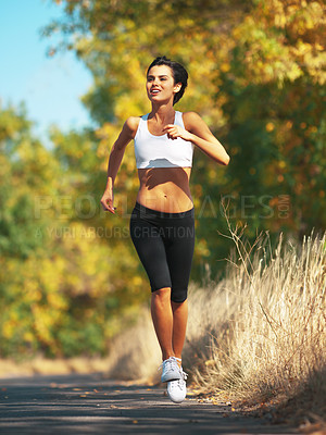 Buy stock photo Jogging Woman Outdoors