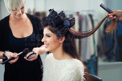 Buy stock photo A young model at the hair salon