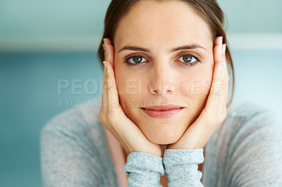 Buy stock photo Closeup of cute young woman face