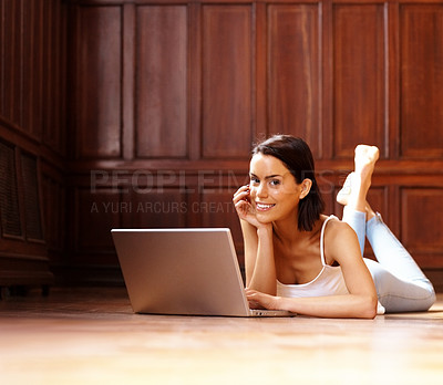 Buy stock photo Beautiful young female using laptop - Indoor