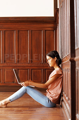 Buy stock photo Lovely young female using laptop - Indoor