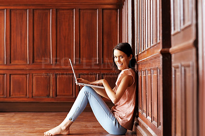 Buy stock photo Happy young lady smiling with laptop - Copyspace