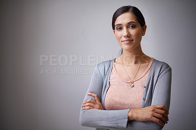 Buy stock photo smiling woman with crossed hands