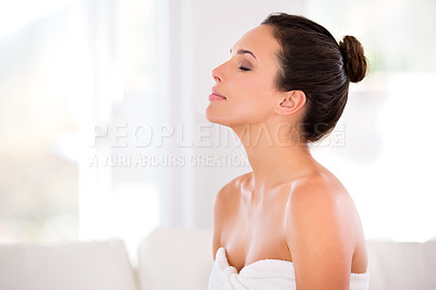 Buy stock photo Side view of a beautiful, serene woman