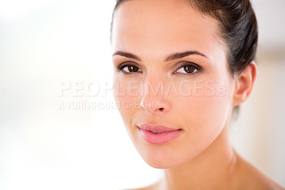 Buy stock photo Headshot of a beautiful woman with flawless skin