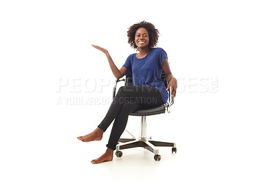 Buy stock photo an expressing young black woman