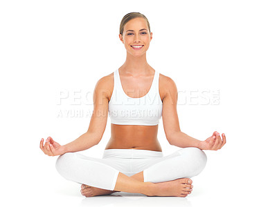 Buy stock photo Portrait of an attractive young woman practicing the art of meditation