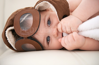 Buy stock photo Portrait of an adorable baby boy wearing a hat