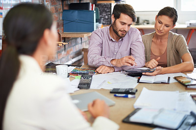 Buy stock photo A young businesswoman meeting with potential clients