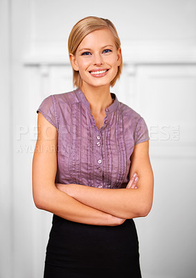 Buy stock photo Portrait of a beautiful smiling young woman dressed for the office