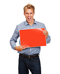 Happy man with red billboard on white background