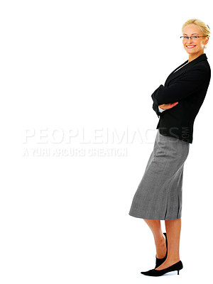 Buy stock photo Studio portrait of an attractive young businesswoman leaning against copyspace isolated on white