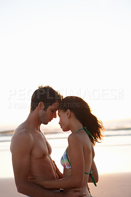 Buy stock photo Cute couple in love holding each other passionately - copyspace