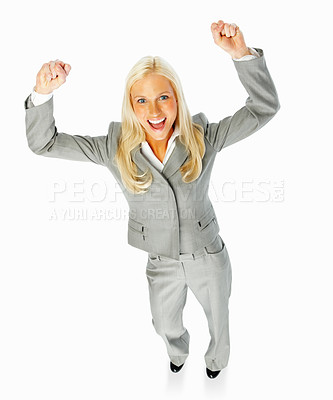 Buy stock photo Portrait of a happy businesswoman with hands raised over white background