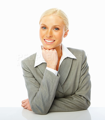 Buy stock photo Portrait of a business woman smiling on white background