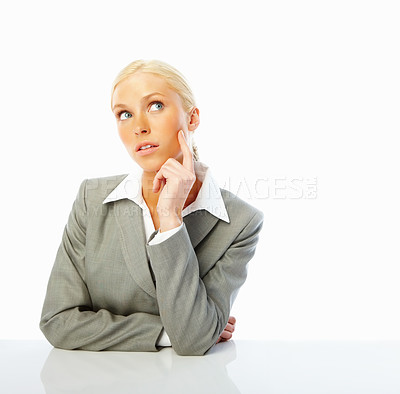 Buy stock photo Young business woman looking away and thinking, isolated on white