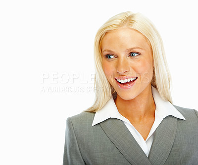 Buy stock photo Happy young business woman looking at copyspace
