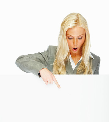Buy stock photo Portrait of a lovely young business woman looking at copyspace