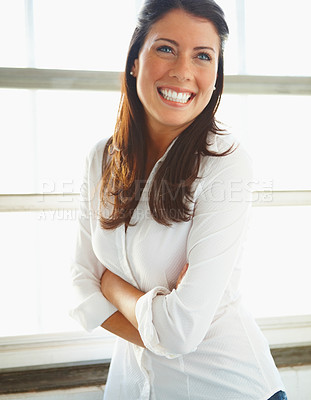 Buy stock photo Happy young brunette with hands folded
